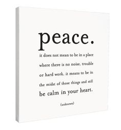 Strive for this kind of peace!