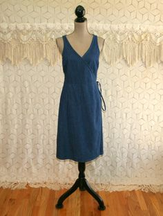 90s Denim Wrap Dress Sleeveless Womens Summer Dresses Midi