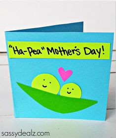 """Ha-Pea"" Mother's Day Card for Kids to Make - Sassy Dealz.. Find more DIY Mother's Day cards at diyready.com."