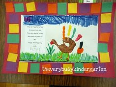 colorful handprint turkey placemat