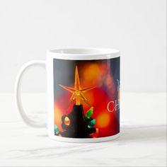 Mid Century Ceramic Christmas Tree Star Mug