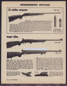 1973 MOSSBERG 640K, 340B, 144 Rifle AD vintage advertising w/original prices #Mossberg