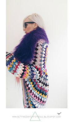Free Crochet Pattern | Freeform Crochet Sugar Skull Cocoon Cardigan with Faux…