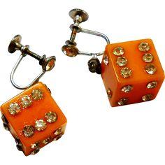 Butterscotch Bakelite Dice Earrings w/ Rhinestone Details c. 40
