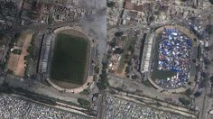 """One of my favorite features in Google Earth is the historical imagery. Being able to go back in time and see how a location looked years earlier is very cool. With that in mind, the folks at Mashable put together a list of """"11 shocking Google Earth Before-and-After Photos"""". Port Au Prince, Soccer Stadium, After The Storm, Images Google, Back In Time, Natural Disasters, Geography, City Photo, Earth"""