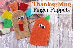 Today, I have the perfect craft to keep those little fingers busy while the grown-ups are in the kitchen: Thanksgiving Finger Puppets! These are simple to make and simple to come up with variations for. I did a turkey and a carrot to help you along. Get creative and get those little fingers working!