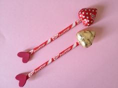 Pixy stix & chocolate hearts = Cupid's arrow (For Valentine's)