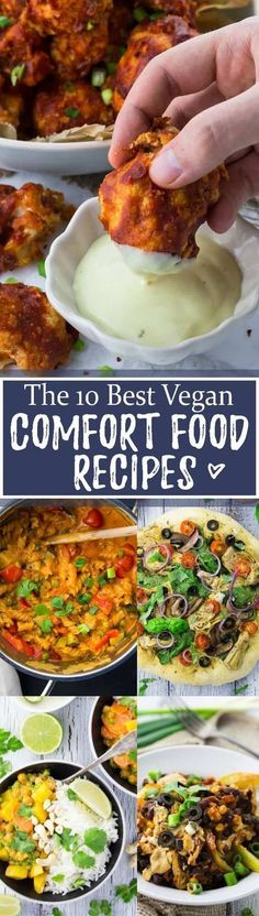 Sometimes we just need some delicious comfort food! Isn't it nice to come home after a long and hard day and enjoy a yummy and comforting meal?! This roundup includes some of my favorite vegan comfort recipes like vegan one pot pasta, lasagna, vegan pizza, vegan curry, vegan chili cheese fries, and cauliflower wings. Big YUM!!