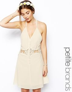 Jarlo Petite Button Front Lace Insert Mini Dress