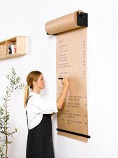 The Studio Roller is an innovative way to display information in your café, office or home. The simple and functional wall-mounted bracket seamlessly dispenses kraft paper to write ideas, menus, specials and daily tasks.George & Willy Studio Roller and F Home Office Design, House Design, Office Designs, Bar Designs, Design Design, Butcher Paper, Black Walls, Planer, Diy Home Decor