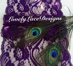 Peacock/Purple Lace Table Runner/7 wide x30ft by LovelyLaceDesigns