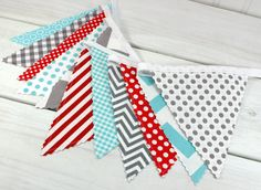 Bunting Banner Photo Prop Fabric Flags Birthday von thespottedbarn