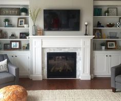 Build Built In Bookcase . Build Built In Bookcase . the Built Ins Restyled Fireplace Bookshelves, Fireplace Built Ins, Home Fireplace, Bookshelves Built In, Living Room With Fireplace, Fireplace Surrounds, Fireplace Design, Home Living Room, Living Room Designs