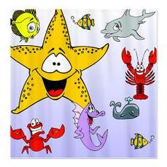 Cute shower curtains for kids that feature a variety of cartoon sea creatures. Kids who love ocean animals will love these cute shower curtains.