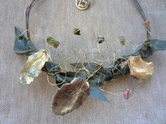 2015 charm - oxidized brass wire wreath with semi-precious stones, cast leaves from real plant and olive green leather
