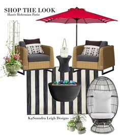 Shop the Look Haute Bohemian Outdoor Living Room Oasis. Discover how to bring this intriguing mix between maximal bohemian and minimalism to your outdoor living room. Deck Design Plans, Patio Design, Outdoor Rooms, Outdoor Living, Outdoor Furniture Sets, Diy Home Interior, Interior Design, Bohemian Patio, Deck Decorating