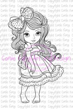 digital stamp, digi stamp, Bow Tie In My Hair by Conie Fong, girl, scrapbooking, coloring page