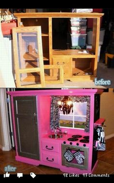 I'm in love...way too cute Old Furniture, Repurposed Furniture, Liquor Cabinet, Arcade Games, Building, Living Room, Home Remodeling, Coding, Storage