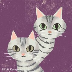 Cats works - Chie Katayama Illustration and like OMG! get some yourself some pawtastic adorable cat apparel! Auto Illustration, Cute Cat Drawing, Cat Character, Cat Colors, Cat Design, Cool Cats, Cat Art, Cats And Kittens, Art Drawings