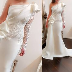 Elegant One Shoulder Mermaid Long Prom Dresses 2018 White Long Sleeves Prom Gowns Satin Ruched Ruffles Applique Sweep Train Elegant One Shoulder Mermaid Long Prom Dresses 2018 White Long Sleeves – chicmaxonline Prom Dresses Long With Sleeves, Prom Dresses 2018, Bridal Dresses, Wedding Gowns, Bridesmaid Dresses, Prom Gowns, Formal Gowns, Long Gowns, Dress Formal