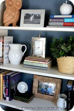 Styling Bookcases For a Much Used Family Room: Mixing Pretty and Necessity Creative Office Decor, Bookshelf Makeover, Guest Bedroom Decor, Decorating Bookshelves, Bookshelf Styling, Front Rooms, Home Decor Inspiration, Kitchen Bookcase, Family Room