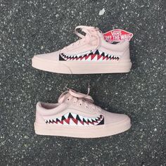 Mono Pink Sharktooth Custom Vans Old Skool