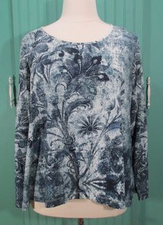 Soft Surroundings Floral Scoop Neck Pullover Blue Plus Top 3X #SoftSurroundings #KnitTop