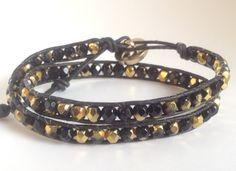 Black and golden bohemian leather double wrap bracelet