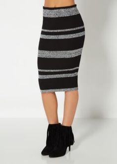 Marled Stripe Ribbed Bodycon Skirt | Midi | rue21