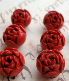 Vintage red rosette buttons