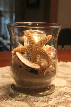 Ocean Sea:  Fill a glass jar or vase with your favorite beach items you have collected from a special day at the beach...sand, shells, small driftwood, sea glass, etc. Then, after filling, add a small glass votive, and enjoy your memories of the beach.