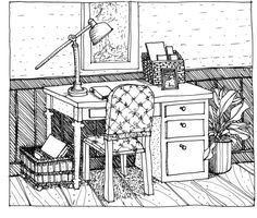 Step three texture and pattern in line drawing of desk and chair