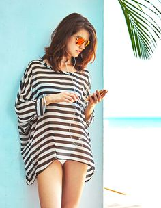 MG Collection Stylish Black / White Striped Fashion Beach Swimsuit Cover-Up * CONTINUE @ http://www.getit4me.org/fashion100/1281/?398