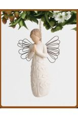 Willow Tree - A Tree, A #Prayer #Ornament  Each original #WillowTree sculpture is hand carved by artist Susan Lordi. Using #family and #friends as models, Susan's goal is to capture a moment in time or express an intimate feeling. Pieces are cast from her original carving and individually painted by hand. Softly washed colors, carved and metal accents, and representative icons of #nature add depth and sentimentality to this beloved line.