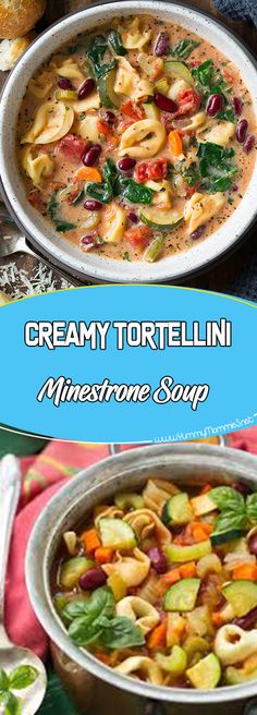 Creamy Tortellini Minestrone Soup Via #yummymommiesnet #soup Soup #easyrecipes easy recipes #recipeoftheday recipe of the day #recipeideas recipe ideas #cooking cooking light recipes #souprecipes soup recipes