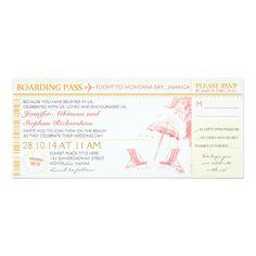 熱帯搭乗券-結婚式招待状及びRSVP 10.2 X 23.5 インビテーションカード