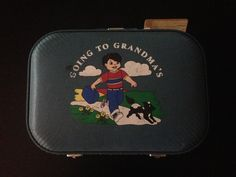 Going to Grandma's Suitcase Blue Boy Hard Case Nature Lining Luggage Tag Great Shape Vintage 1950s by LipstickLounge on Etsy