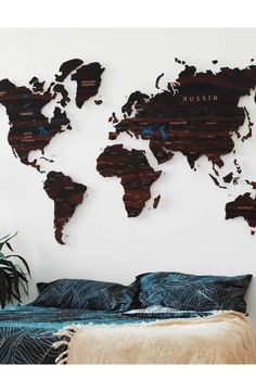 Wooden and cork Push pin world map by GaDenMap. 30 Push Pin FREE. Travel map for wall decor in office room, bedroom, living room, kid's room decorating. Unique gift idea for travelers