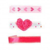 Alligator Clip Set Of Three: Crochet Heart, Heart Ribbon, Pi -- You can find more details by visiting the image link.