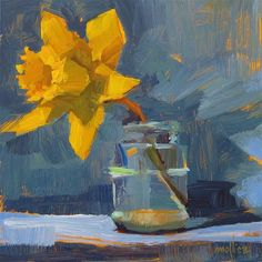 "Daily Paintworks - ""Daffydil"" - Original Fine Art for Sale - © Patti Mollica Block Painting, Star Painting, Old Paintings, Impressionist Paintings, Flower Paintings, Acrylic Painting Techniques, Online Coloring, Painting Still Life, Fine Art Gallery"