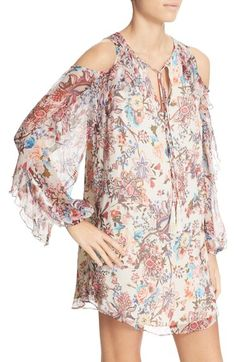 7cd05fd57fc Free shipping and returns on Haute Hippie Floral Print Cold Shoulder Silk  Minidress at Nordstrom.