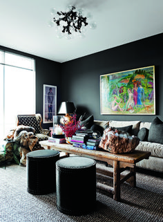 Look at how these colours pop against the black.  Apartment by Cathy Echols