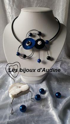 Tour de cou bleu bouton de nacre - perles magiques