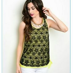 Black & lemon crochet tank * Price Firm Unless Bundled * No Trades * No Offers  A fun twist on the tank top. This bright lemon colored high-low tank with black crochet overlay will be one of your faves! 100% polyester.  Available in S, M, L.   Please see picture #3 for sizing: Bust, Waist, Hips in inches.   Easy purchase, just click on your size & buy. No separate listing needed  { 10 % off bundles of 2 + listings } Aparador Tops Tank Tops