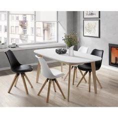 NAISS Table à manger extensible de 6 à 8 personnes scandinave pieds bouleau massif + plateau mélaminé blanc - L 160 à 200 x l 90 cm - Achat / Vente table à manger seule NAISS Table à manger ext - Cdiscount