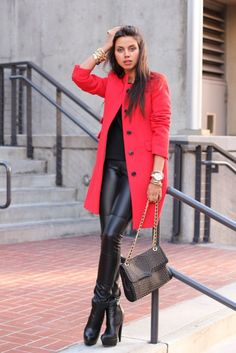 Shop this look on Lookastic:  http://lookastic.com/women/looks/bracelet-coat-crew-neck-t-shirt-watch-leggings-crossbody-bag-ankle-boots/5094  — Gold Bracelet  — Red Coat  — Black Crew-neck T-shirt  — Gold Watch  — Black Leather Leggings  — Black Embellished Leather Crossbody Bag  — Black Leather Ankle Boots