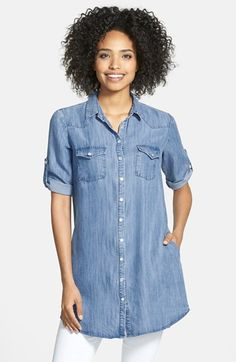 KUT from the Kloth 'Ruthy' Roll Sleeve Chambray Tunic available at #Nordstrom