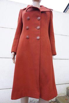 manteau 38 vintage 70 vtg Trapeze Hippy RETRo laine Wool rouille coat preppy