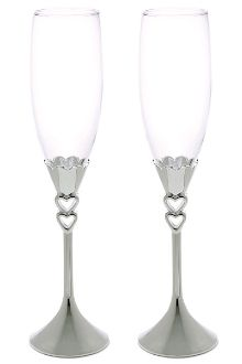 Silver Plated Open Hearts Stem Goblets