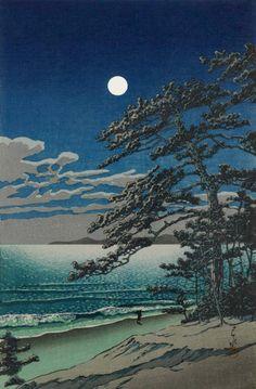 "Japanese Art Print ""Spring Moon at Ninomiya Beach"" by Kawase Hasui, woodblock print reproduction, asian art, cultural art, ocean shore Japanese Painting, Japanese Prints, Chinese Painting, Bokashi, Japan Art, Outdoor Art, Gravure, Art Plastique, Watercolor Paintings"